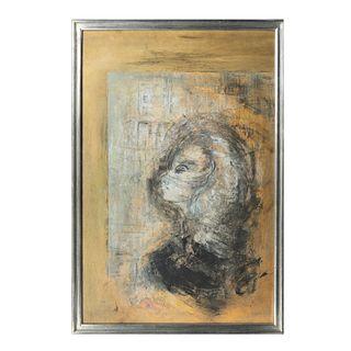 GUSTAVO ARIAS MURUETA.  Personaje femenino.  Mixta sobre papel. Firmada y fechada 88 al frente.  Enmarcada.  88 x 58 cm ...