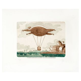 FABIÁN UGALDE (Querétaro, Querétaro, 1967 - ) El curador logra llegar al Guggenhem con la ayuda de un artista inflado. 30 x 40 cm.