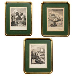M.L LLEDIAS. Lote de 3 litografías. Vistas de España. Firmadas a lápiz y fechadas 1953. Enmarcadas. Detalles de conservación.