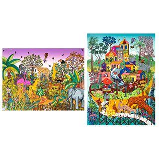 MIGUEL GARCÍA CEBALLOS. Lote de 2 serigrafías. Seriadas 74/100 y 1/100. Firmadas a lápiz.  Sin marco. 76 x 76 cm