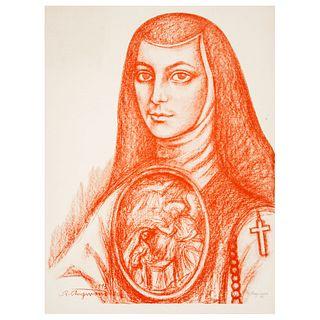 RAÚL ANGUIANO. Sor Juana Inés de la Cruz. Litografía a partir de la sanguina original. Sin enmarcar. 76 x 57 cm