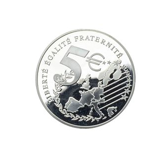 Medalla conmemorativa Liberté Égalité Fraternité en plata .999. Aplicación en oro amarillo de 18k. Peso: 24.9 g.