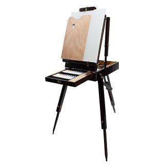 ....caballete de madera con porta pinturas