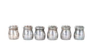 (6) Vintage Japanese Sterling Salt Shakers