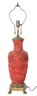 Antique Cinnabar Carved Lamp