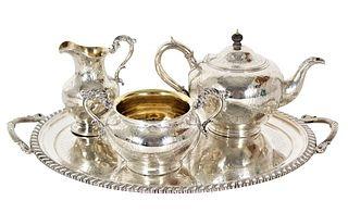 Antique English Sterling Silver Tea Set, 93 OZT