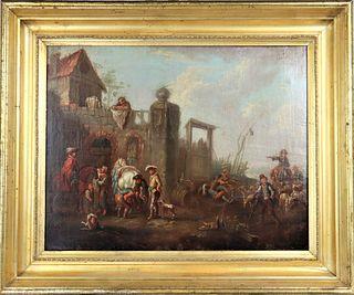 18th C. Continental European Scene, Oil on Canvas