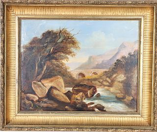 Landscape with Fly Fisherman, Oil on Board