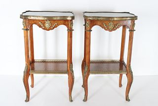 Pair of Marble Top French Style Side Tables