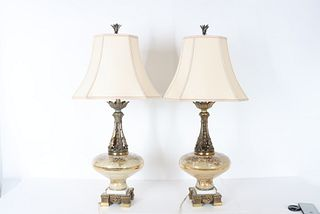Pair of Painted Glass & Metal Lamps, Mid 20th C