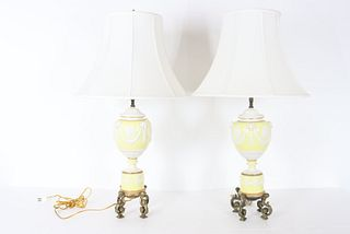 Pair of Yellow Urn Form Lamps, Mid 20th C