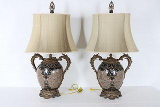Pair of Chinese Porcelain & Metal Lamps