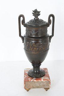 Antique Urn Form Spelter & Marble Garniture