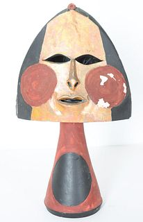 Frank Colson, Polychrome Ceramic Face Sculpture