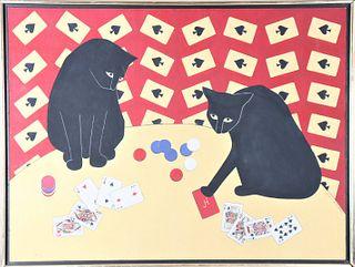 "Joyce Hamilton, Signed Oil on Canvas, ""Cats"""