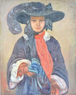 """Mid 20th C Oil on Canvas, """"Maiden"""" Signed B. Vogel"""