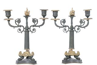 Pair Napoleon III French Gilt Bronze Candelabras