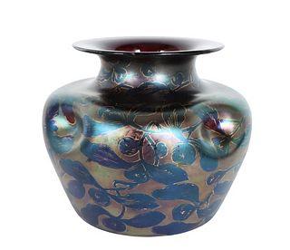 Iridescent Art Glass Rimmed Vase