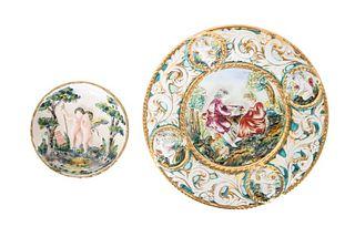 (2) Italian Capodimonte Decorative Plates