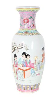 20th C. Chinese Famille Rose Figural Vase
