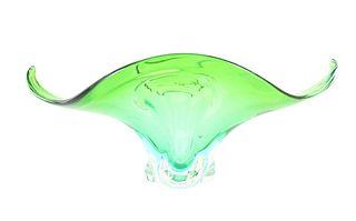 Hand Blown Art Glass Green Elongated Bowl