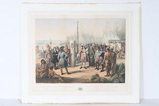 Colored Lithograph 1870's, Jean-Adolphe Bocquin