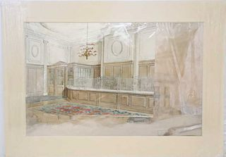 Classic Interior Watercolor, Early 20th C