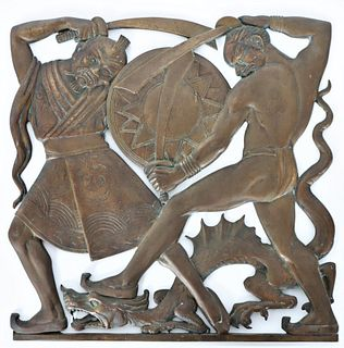 Chinese Bronze Wall Plaque