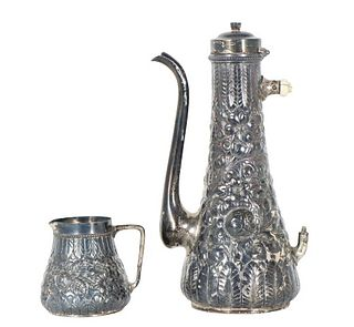 Pair of High Relief Sterling Teapot & Creamer 7OZT