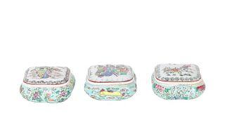 Set of (3) Chinese Porcelain Figural Trinket Boxes