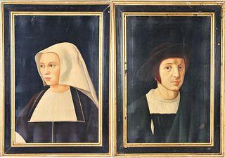 Pair of Italian Portraits, Oil on Canvas