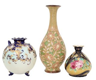 Set of (3) Antique Painted Vases