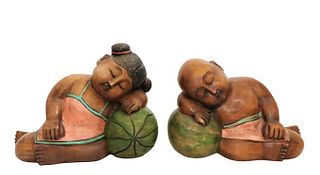 (2) Thai Carved Polychrome Water Babies