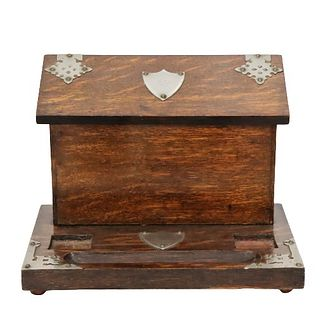 Antique English Oak Desk Box, Metal Mounts