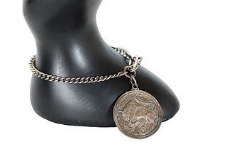 Antique Sterling Bull Medallion