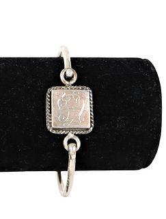 Engraved Sterling Silver Ladies Bracelet