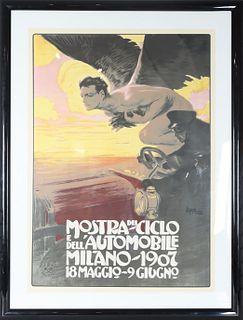 Mostra Del Ciclo, Milano - 1907, Automobile Poster