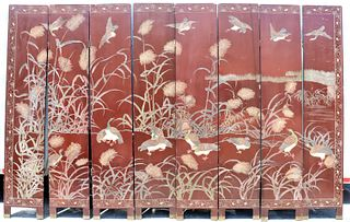 Eight Panel Chinese Screen, Vintage