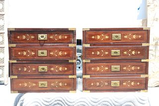 Pair of Anglo-Indian Carved Campaign Chests