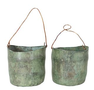(2) Small Bronze Patina Garden Containers