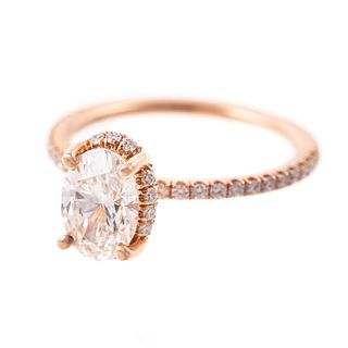 A 1.40 ct Oval Lab Diamond Engagement Ring in 14K