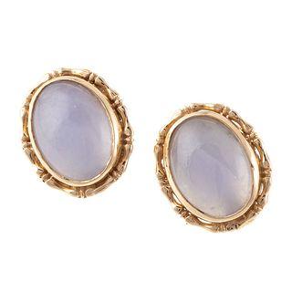 A Pair of Lavender Jade Earrings in 14K