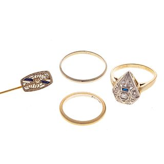 A Collection of 14K White Gold Art Deco Jewelry