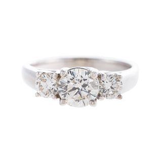 A 14K Classic 3-Stone Round Brilliant Diamond Ring
