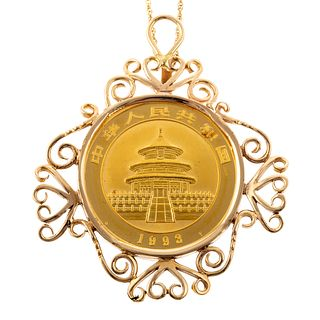 A 1993 .999 Gold Panda Coin Pendant with 14K Chain