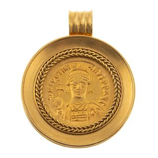 A Justinian I the Great Coin Pendant in 14K