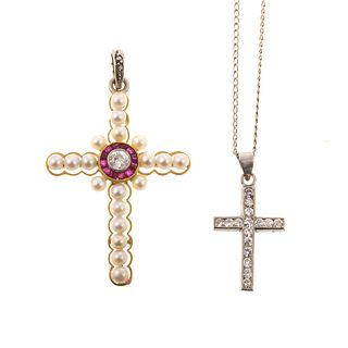 A Pair of Vintage Diamond Cross Pendants, 14K & 18K