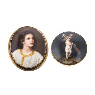 A Collection of Hand-Painted Porcelain Brooches