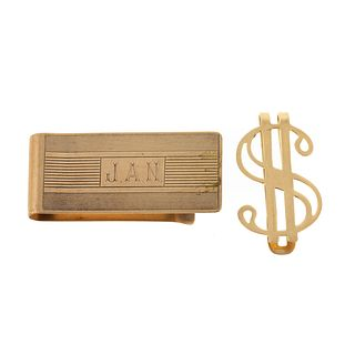A Collection of Vintage Gold Money Clips