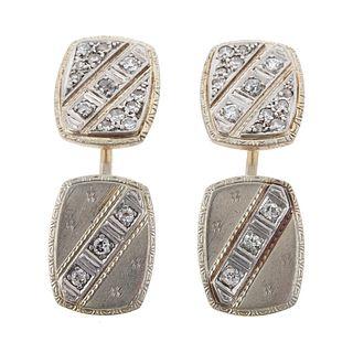 A Pair of Vintage Diamond Cufflinks in 14K